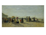 Beach Scene, Trouville, 1871 Giclee Print by Eugène Boudin