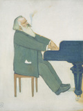 Johannes Brahms at the Piano Poster by Willy von Beckerath