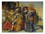 Elegant Musicians on a Terrace, 1625 Lámina giclée por Dirck Hals