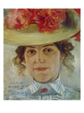 Portrait of Frau Halbe with Straw Hat, 1898 Art by Lovis Corinth