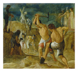 The Frankfurt Altarpiece of the Exaltation of the True Cross: the Digging for the Cross Giclee Print by Adam Elsheimer