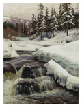 Wintery Landscape with Mountain Stream (Lillehammer), 1916 Giclee Print by Peder Moensted