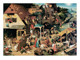 Pieter Bruegel the Elder - Netherlandish Proverbs, 1559 - Giclee Baskı