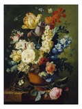 Flower Still Life with Bird's Nest, 1785 Giclee Print by Paul Theodor van Brussel