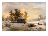 Going to Church in the Winter Landscape of the Lower Rhine Region Giclee Print by Wilhelm Klein