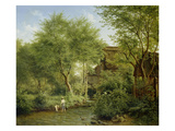 Boys Playing in a Brook, 1871 Giclee Print by Bedrich Havranek