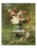 Vase Mit Pfingstrosen in Einem Garten Poster von Louis Marie Lemaire