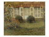 Gartenhaus Und Sonnenblumen Gicléetryck av Henri Le Sidaner
