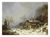 Winterlandschaft an Einer Schmiede Giclee Print by Heinrich Burkel
