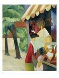 Vor Dem Hutladen (Frau Mit Roter Jacke Und Kind), 1913 Giclee Print by Auguste Macke