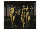 Triptych: the Hesperides, 1884/1985. Central Panel: the Three Women Giclee Print by Hans Marées