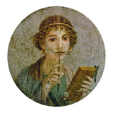 Portrait of a Young Girl with Pen and Writing Tablet Giclée-Druck