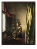 Jan Vermeer - Girl at a Window Reading a Letter, about 1658 Digitálně vytištěná reprodukce