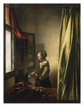 Girl at a Window Reading a Letter, about 1658 Prints by Jan Vermeer