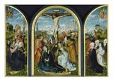 Triptychon Aus Einer Frankfurter Kirche: Kreuzigung (Mitte) Und Stifter Prints by  Master of Frankfurt