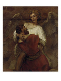 Jacob Wrestling with the Angel, about 1659/60 Art by  Rembrandt van Rijn