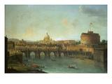 Castel Santangelo and Ponte Santangelo, Rome, with St. Peters and Vatican Plakat af Antonio Joli