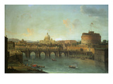Castel Santangelo and Ponte Santangelo, Rome, with St. Peters and Vatican Print by Antonio Joli