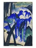 Die Mutterstute Der Blauen Pferde I., 1913. Postkarte an Else Lasker-Schueler Giclee Print by Franz Marc