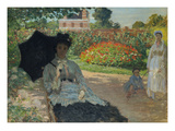 Camille Monet with Son and Nanny in the Garden, 1873 Poster by Claude Monet