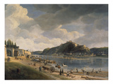 View of the Banks of the Rhine River and of Ehrenbreitstein Fortress, 1828 Giclee Print by Johann Adolf Lasinsky