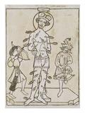 Die Marter des Hl.Sebastian. Holzschnitt, 15.Jahrhundert Prints
