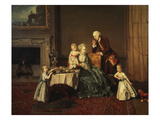 Family Portrait of Lord Willoughby De Broke the 14th During Breakfast Giclee Print by Johann Zoffany