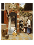 Courtyard of a House in Delft Poster by Pieter de Hooch