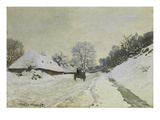 Waggon on Snow-Covered Street in Honfleur, about 1867 Giclee Print by Claude Monet