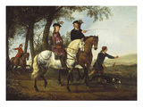 Landscape with Sportsmen Setting Out for the Hunt. Circa Early 1650S Giclee Print by Aelbert Cuyp