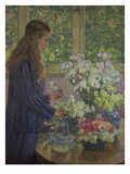 Girl Arranging Garden Flowers Print by Theo van Rysselberghe