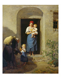 Child Giving Alms, 1858/59 Giclee Print by Ferdinand Georg Waldmüller