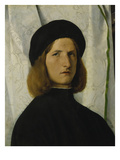 Portrait of a Young Man in Front of a White Curtain, about 1508 Prints by Lorenzo Lotto