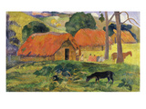 Dog in Front of Thatched Huts, 1892 Giclee Print by Paul Gauguin