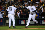 Detroit, MI - Oct 28: Detroit Tigers v SF Giants - Delmon Young, Gene Lamont and Matt Cain Photographic Print by Doug Pensinger