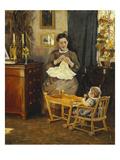 Innenraum Mit Handarbeitender Mutter (Die Frau Des Kuenstlers) Giclee Print by Viggo Pedersen