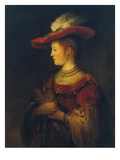 Portrait of Saskia Van Uylenburgh, the Artist's Wife, 1633/34 Giclee Print by  Rembrandt van Rijn