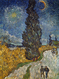 Country Road with Cypress and Star, 1890 Giclée-tryk af Vincent van Gogh