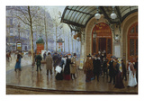 Outside the Theatre Du Vaudeville, Paris Gicléedruk van Jean Béraud