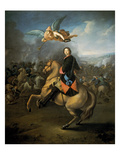 Portrait of Peter the Great Against a Background of the Battle of Poltava Giclee Print by Gottfried Danhauer