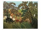 Exotische Landschaft Mit Spielenden Affen, 1910 Giclée-tryk af Henri Rousseau