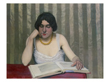 Woman Reading with Yellow Necklace, 1912 Gicl&#233;e-Druck von Felix Vallotton