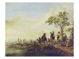 Falconers Return Home from the Hunt, about 1658-60 Giclee Print by Philips Wouwerman