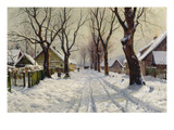 Winter in the Village Giclee Print by Walter Moras