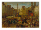 Feast of Corpus Christi Procession at the Marienplatz in Munich, 1884 Giclee Print by Ludwig von Hagn