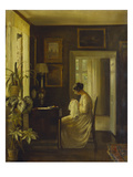 An Interior with a Woman Sewing Impressão giclée por Carl Holsoe
