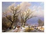 Winterly Avenue, 1863. Executed with Eugene-J.Verboeckhoven Giclee Print by Johann-Bernard Klombeck