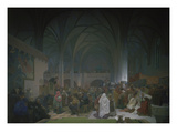 Master Jan Hus Preaching in the Bethlehem Chapel, 1414. from the 'slav Epic', 1916 Posters by Alphons Mucha