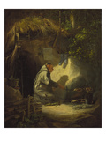 Hermit, Roasting a Chicken, 1841 Art by Carl Spitzweg