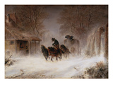 Carriage in a Snowstorm Giclee Print by Hermann Kauffmann